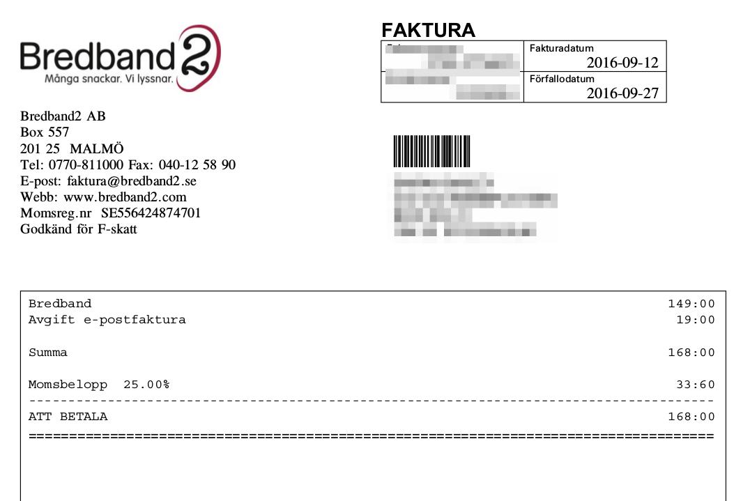 Bredband2 tar betalt för att skicka e-post